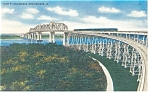 Click here to enlarge image and see more about item p9010: New Orleans,LA, Huey P. Long Bridge Linen Postcard