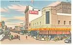 Tampa FL, Franklin Street,Vintage Cars Linen Postcard