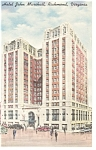 Richmond VA Hotel John Marshall Postcard p9220