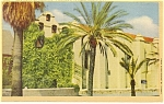 Click here to enlarge image and see more about item p9260: San Gabriel Mission, California, Linen Postcard