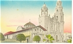 Click here to enlarge image and see more about item p9261: Mission Dolores California Hand  Colored Postcard p9261