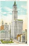 New York City, NY, The Woolworth Bldg Postcard 1924