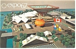 Click here to enlarge image and see more about item p9466: Expo 67 Canadian Pavilion Aerial View Postcard p9466