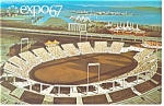 Click here to enlarge image and see more about item p9495: Automotive Stadium, Expo 67 Postcard