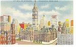 Philadelphia PA City Hall and Skyscrapers Postcard p9623
