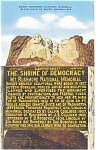 Mt Rushmore Shrine of Democracy Postcard