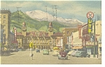 Pikes Peak From Colorado Springs  Postcard Old Cars