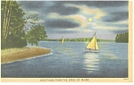 Greetings From Maine, Sailboats Postcard 1947