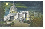 Washington DC, US Capitol at NIght Postcard 1931