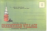 Greenfield Village Dearborn,MI Linen Souvenir Folder sf0318