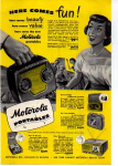 Click here to enlarge image and see more about item sm028222: Motorola Portable Radio Ad 1940s