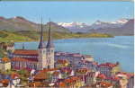 Lucerne SWitzerland Hofkirche and Alps Postcard v0140