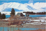 Click here to enlarge image and see more about item v0146: Church Lake at Tekapo New Zealand Postcard v0146