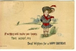 Click here to enlarge image and see more about item w0646: Birthday  Wishes Postcard w0646 1914