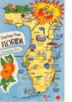 Greetings From Florida Map Postcard w0736