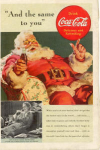 Click here to enlarge image and see more about item x0084:  1939 Coca Cola Santa Claus Ad x0084