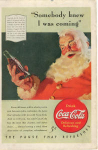 Click here to enlarge image and see more about item x0086:  1940 Coca Cola Santa Claus Ad x0086