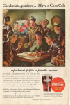 Click here to enlarge image and see more about item x0188:  Coca Cola  Ad x0188  Aug  1945 Checkmate