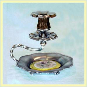 SILVERPLATE CANDLESTICK UNUSUAL PORCELAIN (Image1)