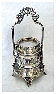SILVERPLATE JEWEL CASKET ORNATE REVOLVING (Image1)