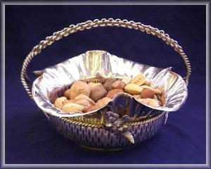 Silverplate Nut Bowl With Birds