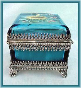 Blue Enameled Jewel Box In Silverplate Frame