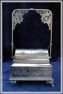 Victorian Silverplate Mechanical Jewel Box