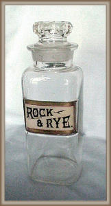 BAR BOTTLE GLASS LABEL ROCK AND RYE (Image1)
