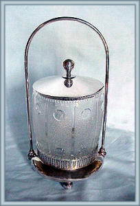 Pattern Glass Biscuit Barrel In Frame