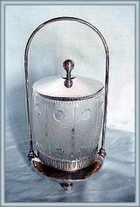 PATTERN GLASS BISCUIT BARREL IN FRAME (Image1)