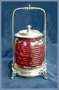 VICTORIAN BISCUIT BARREL ENAMELED CRANBERRY (Image1)