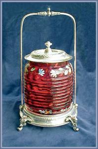VICTORIAN BISCUIT BARREL ENAMELED CRANBERRY (Image1)