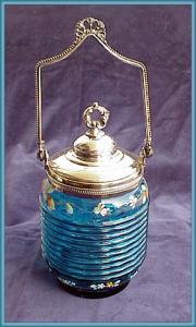 VICTORIAN BISCUIT BARREL BLUE ENAMELED (Image1)