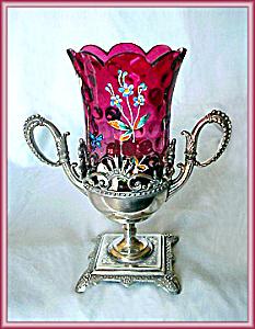 CELERY VASE- ENAMELED AMBERINA (Image1)