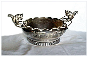 Victorian Silverplate Squirrel Nut Bowl