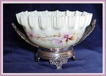 Click here to enlarge image and see more about item V6443: BRIDES BASKET ENAMELED CUSTARD GLASS