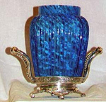 CELERY VASE- BLUE SPATTER GLASS