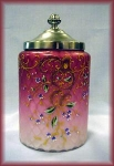 Click here to enlarge image and see more about item V7887: BISCUIT BARREL ENAMELELD PINK MOTHER OF PEARL