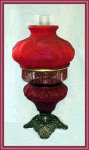 Click here to enlarge image and see more about item V8200: BEAUTIFUL RED SATIN OIL LAMP