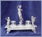 Click here to enlarge image and see more about item V8437: ORNATE VICTORIAN FIGURAL INKWELL