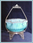 Click here to enlarge image and see more about item V8456: UNUSUAL BRIDES BASKET BLUE MOTHER OF PEARL