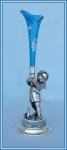 Click here to enlarge image and see more about item V8569: FIGURAL CHERUB VICTORIAN VASE ENAMELED BLUE
