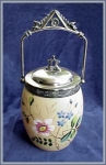 Click here to enlarge image and see more about item V8680: VICTORIAN BISCUIT BARREL ENAMELED CARMEL