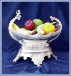 Click here to enlarge image and see more about item V8978: FRUIT BOWL VICTORIAN SILVERPLATE FIGURAL