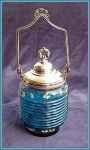 Click here to enlarge image and see more about item V9083: VICTORIAN BISCUIT BARREL BLUE ENAMELED