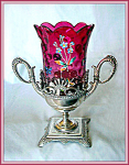 Click here to enlarge image and see more about item V9196: CELERY VASE- ENAMELED AMBERINA