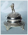 Click here to enlarge image and see more about item V9328: SILVERPLATED JEWELRY BOX FIGURAL CHERUB