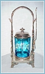 PICKLE CASTOR - BLUE ENAMELED, TALL ORNATE