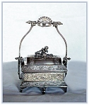 Click here to enlarge image and see more about item V9523: VICTORIAN SILVERPLATE JEWELERY CASKET CHERUB