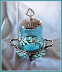 Click here to enlarge image and see more about item V9628: PICKLE CASTOR-  ENAMELED BLUE